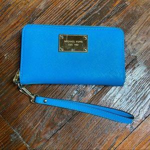 Michael Kors blue wristlet wallet